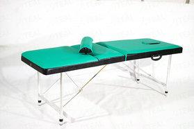 Профи 70+ (19) Складной массажный стол с регулировкой высоты, регулируемой спинкой и отверстием для лица
