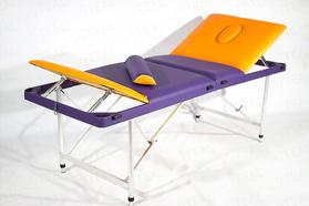 Складной массажный стол Люкс 60+ с регулировкой высоты, подъемной спинкой и подъёмом ног 4-секционный, с отверстием для лица