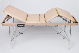 Складной массажный стол Люкс 70/75 с подъемной спинкой и подъёмом ног 4-секционный, без отверстия для лица