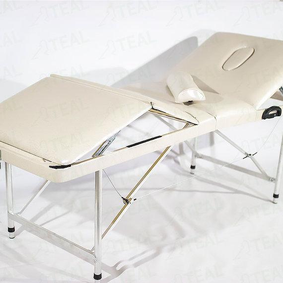 Люкс 70+ (43) Складной массажный стол с регулировкой высоты, подъемной спинкой и подъёмом ног 4-секционный, с отверстием для лица