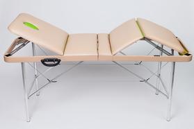 Складной массажный стол Люкс 60/75+ с подъемной спинкой и подъёмом ног 4-секционный, с отверстием для лица