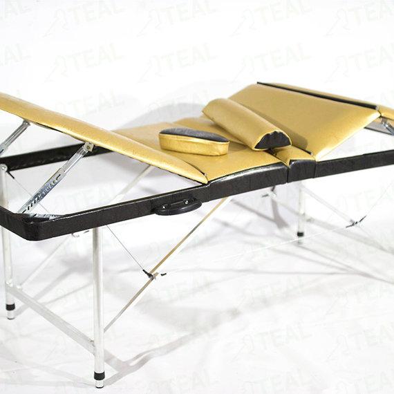 Люкс 60+ (37) Складной массажный стол с регулировкой высоты, подъемной спинкой и подъёмом ног 4-секционный, с отверстием для лица