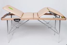 Складной массажный стол Люкс 70/70+ с подъемной спинкой, 4-секционный, с отверстием для лица