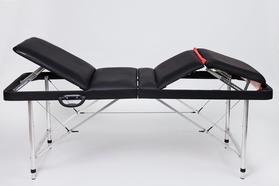 Складной массажный стол Люкс 70 с подъемной спинкой и подъёмом ног 4-секционный, регулировка по высоте без отверстия для лица