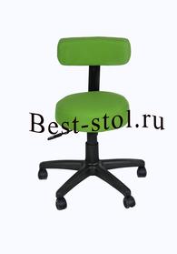Круглый стул с узкой спинкой на пластиковой крестовине