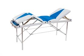 Складной массажный стол Люкс 60/75 с подъемной спинкой и подъёмом ног 4-секционный, без отверстия для лица